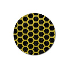 HEXAGON2 BLACK MARBLE & YELLOW LEATHER (R) Magnet 3  (Round)