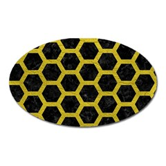 HEXAGON2 BLACK MARBLE & YELLOW LEATHER (R) Oval Magnet