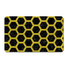 HEXAGON2 BLACK MARBLE & YELLOW LEATHER (R) Magnet (Rectangular)