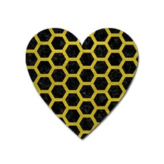HEXAGON2 BLACK MARBLE & YELLOW LEATHER (R) Heart Magnet