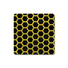 HEXAGON2 BLACK MARBLE & YELLOW LEATHER (R) Square Magnet