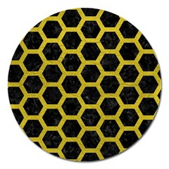 HEXAGON2 BLACK MARBLE & YELLOW LEATHER (R) Magnet 5  (Round)