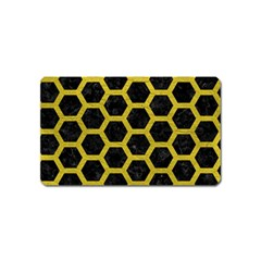 HEXAGON2 BLACK MARBLE & YELLOW LEATHER (R) Magnet (Name Card)