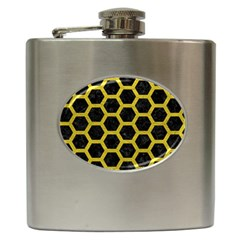 HEXAGON2 BLACK MARBLE & YELLOW LEATHER (R) Hip Flask (6 oz)