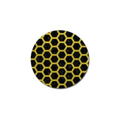 HEXAGON2 BLACK MARBLE & YELLOW LEATHER (R) Golf Ball Marker
