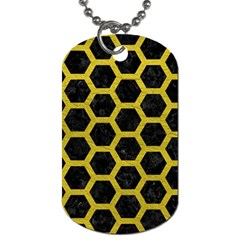 HEXAGON2 BLACK MARBLE & YELLOW LEATHER (R) Dog Tag (Two Sides)