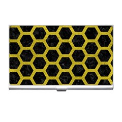 HEXAGON2 BLACK MARBLE & YELLOW LEATHER (R) Business Card Holders