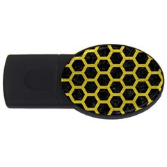 HEXAGON2 BLACK MARBLE & YELLOW LEATHER (R) USB Flash Drive Oval (2 GB)