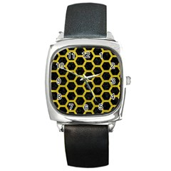 Hexagon2 Black Marble & Yellow Leather (r) Square Metal Watch by trendistuff