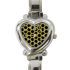 HEXAGON2 BLACK MARBLE & YELLOW LEATHER (R) Heart Italian Charm Watch
