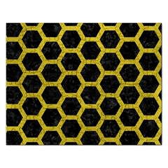 HEXAGON2 BLACK MARBLE & YELLOW LEATHER (R) Rectangular Jigsaw Puzzl