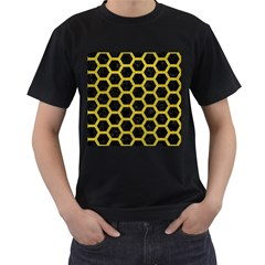 HEXAGON2 BLACK MARBLE & YELLOW LEATHER (R) Men s T-Shirt (Black) (Two Sided)