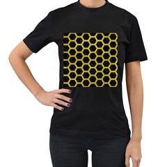 HEXAGON2 BLACK MARBLE & YELLOW LEATHER (R) Women s T-Shirt (Black) (Two Sided)