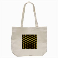 HEXAGON2 BLACK MARBLE & YELLOW LEATHER (R) Tote Bag (Cream)