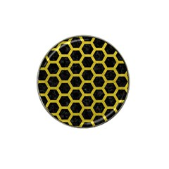 HEXAGON2 BLACK MARBLE & YELLOW LEATHER (R) Hat Clip Ball Marker