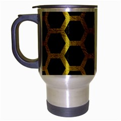 HEXAGON2 BLACK MARBLE & YELLOW LEATHER (R) Travel Mug (Silver Gray)