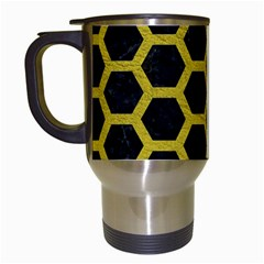HEXAGON2 BLACK MARBLE & YELLOW LEATHER (R) Travel Mugs (White)