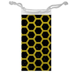 HEXAGON2 BLACK MARBLE & YELLOW LEATHER (R) Jewelry Bag