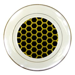HEXAGON2 BLACK MARBLE & YELLOW LEATHER (R) Porcelain Plates