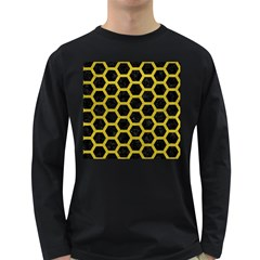 HEXAGON2 BLACK MARBLE & YELLOW LEATHER (R) Long Sleeve Dark T-Shirts