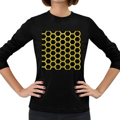 HEXAGON2 BLACK MARBLE & YELLOW LEATHER (R) Women s Long Sleeve Dark T-Shirts