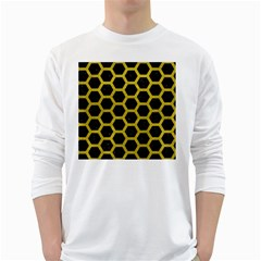 HEXAGON2 BLACK MARBLE & YELLOW LEATHER (R) White Long Sleeve T-Shirts