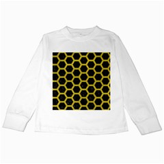 HEXAGON2 BLACK MARBLE & YELLOW LEATHER (R) Kids Long Sleeve T-Shirts
