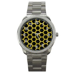 HEXAGON2 BLACK MARBLE & YELLOW LEATHER (R) Sport Metal Watch