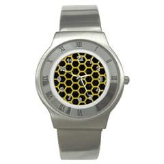 HEXAGON2 BLACK MARBLE & YELLOW LEATHER (R) Stainless Steel Watch