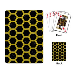 HEXAGON2 BLACK MARBLE & YELLOW LEATHER (R) Playing Card