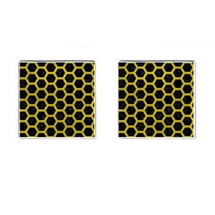 HEXAGON2 BLACK MARBLE & YELLOW LEATHER (R) Cufflinks (Square)
