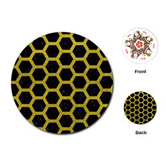 HEXAGON2 BLACK MARBLE & YELLOW LEATHER (R) Playing Cards (Round)