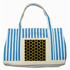 HEXAGON2 BLACK MARBLE & YELLOW LEATHER (R) Striped Blue Tote Bag