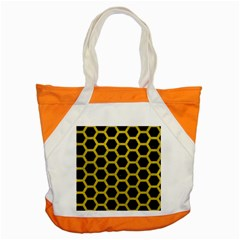 HEXAGON2 BLACK MARBLE & YELLOW LEATHER (R) Accent Tote Bag
