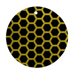 HEXAGON2 BLACK MARBLE & YELLOW LEATHER (R) Round Ornament (Two Sides)