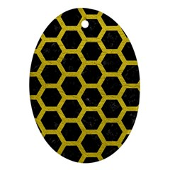 HEXAGON2 BLACK MARBLE & YELLOW LEATHER (R) Oval Ornament (Two Sides)