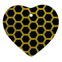HEXAGON2 BLACK MARBLE & YELLOW LEATHER (R) Heart Ornament (Two Sides)