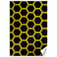 HEXAGON2 BLACK MARBLE & YELLOW LEATHER (R) Canvas 12  x 18