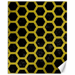 HEXAGON2 BLACK MARBLE & YELLOW LEATHER (R) Canvas 16  x 20