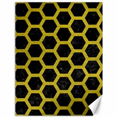 HEXAGON2 BLACK MARBLE & YELLOW LEATHER (R) Canvas 18  x 24
