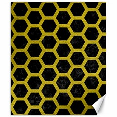 HEXAGON2 BLACK MARBLE & YELLOW LEATHER (R) Canvas 20  x 24