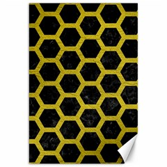 HEXAGON2 BLACK MARBLE & YELLOW LEATHER (R) Canvas 20  x 30