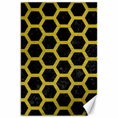 HEXAGON2 BLACK MARBLE & YELLOW LEATHER (R) Canvas 24  x 36