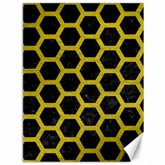 HEXAGON2 BLACK MARBLE & YELLOW LEATHER (R) Canvas 36  x 48