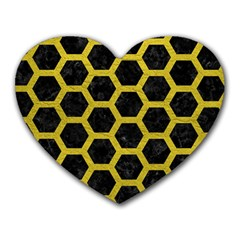 HEXAGON2 BLACK MARBLE & YELLOW LEATHER (R) Heart Mousepads