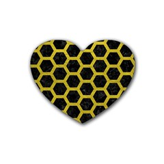 HEXAGON2 BLACK MARBLE & YELLOW LEATHER (R) Heart Coaster (4 pack)