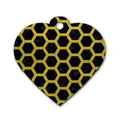 HEXAGON2 BLACK MARBLE & YELLOW LEATHER (R) Dog Tag Heart (Two Sides)
