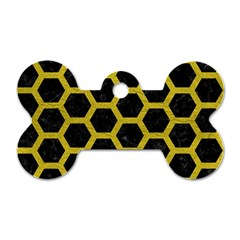 HEXAGON2 BLACK MARBLE & YELLOW LEATHER (R) Dog Tag Bone (Two Sides)