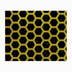 HEXAGON2 BLACK MARBLE & YELLOW LEATHER (R) Small Glasses Cloth (2-Side)