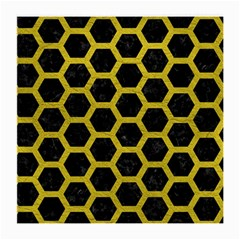 HEXAGON2 BLACK MARBLE & YELLOW LEATHER (R) Medium Glasses Cloth (2-Side)